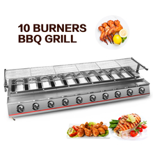 ITOP Stainless Steel 10 Burners BBQ Grills Barbecue Tools For Outdoor Use Super Long LPG Gas Griddle With Glass Cover