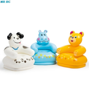 Image 1 - Cute Portable Cartoon Animal inflatable sofa Children Seat Tiger bear For Kid 3 8 Years Old Lovely Kids PVC Chairs Baby Seats