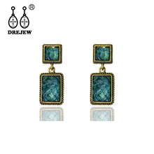 DREJEW Vintage Green Geometric Square Acrylic Statement Earrings 2019 925 Alloy Drop for Women Wedding Jewelry HE0801