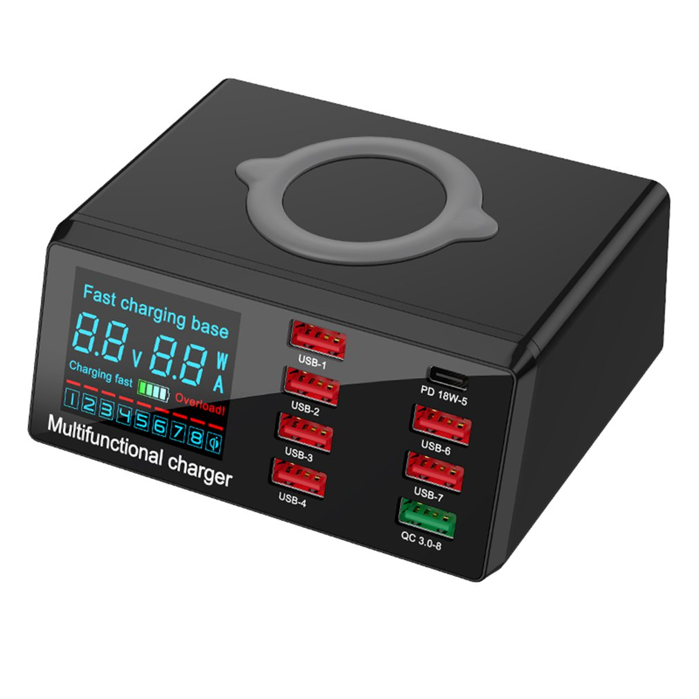 <font><b>100W</b></font> PD QC 3.0 Quick <font><b>Charger</b></font> 8 Ports Smart USB Digital Display Charging Dock Station Qi Wireless <font><b>Fast</b></font> <font><b>Charger</b></font> for iPhone Samsung image