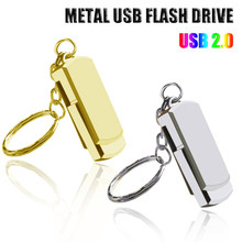 USB Flash Drive 128GB Gantungan Kunci Pen Drive 32GB 64GB 16GB 8GB Logam Kunci Ring Memori USB 2.0(China)