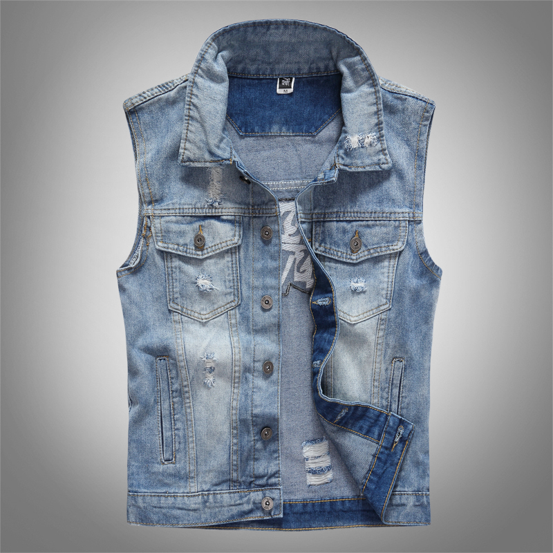 American Streetwear Fashion Men Vest Embroidery Patch Designer Sleeveless Jackets Men Punk Rock Coats Hip Hop Denim Biker Vests