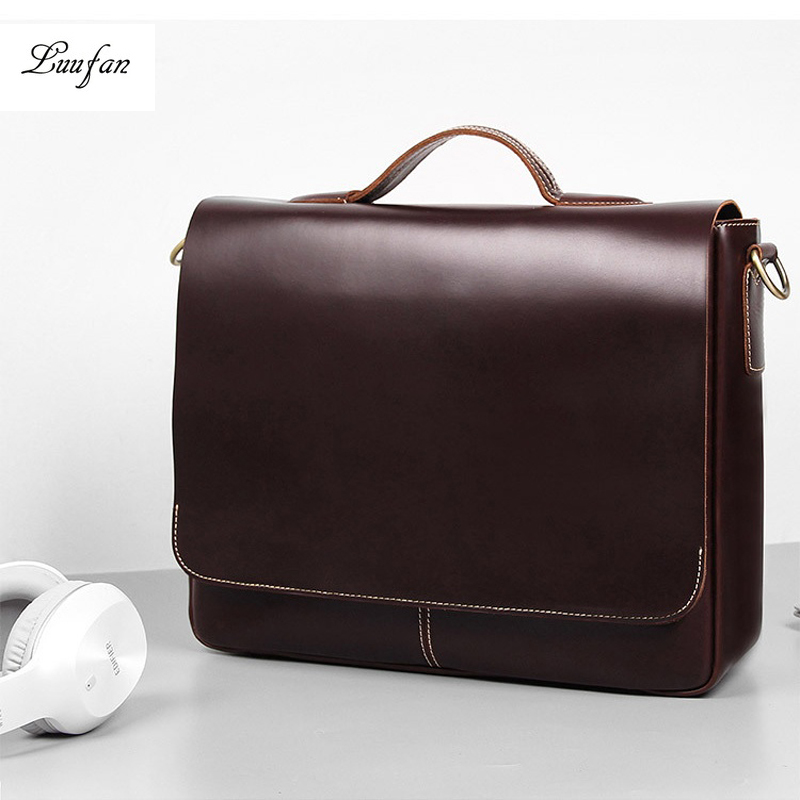 Top Layer Leather Men Bag Oil Wax Genuine Cow Leather Briefcase Fit For 15 Inch Laptop Handbag Man Business Bag Shoulder Bags