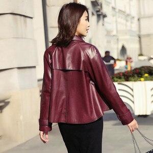Image 3 - Ayunsue本革ジャケット春秋のジャケットの女性100% 本物のシープスキンのコート女性韓国ボンバージャケットチャケータmujer