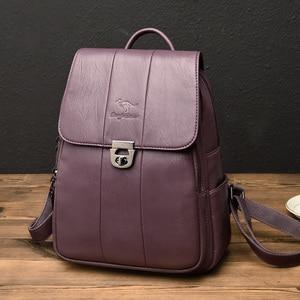 Image 3 - 2019 femmes sac à dos femme haute qualité en cuir sac décole pour les adolescentes voyage sac à dos sacs à dos dames sacs à bandoulière