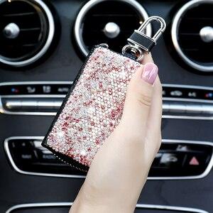 Image 5 - 1 Pcs Männer & Frauen Auto Schlüssel Tasche Wallet Kristall Schlüssel Fall Mode Keeper Halter Luxus für BMW LADA Zubehör