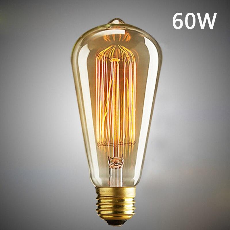 40/60W ST64 Retro Filament Edison Antique Industrial Style Lamp Light Bulb E27