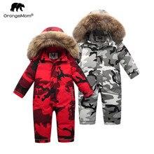 Marca orangemom loja oficial roupas infantis, inverno 90% para baixo jaqueta para meninas meninos neve wear, bebê crianças casacos macacão