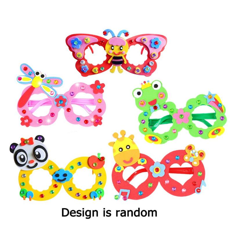 EVA Diamond Glasses Kindergarten Kid DIY Hand Paste Making 3D Stereo Sticker Toy Cute And Delicate Animal Pattern Elements