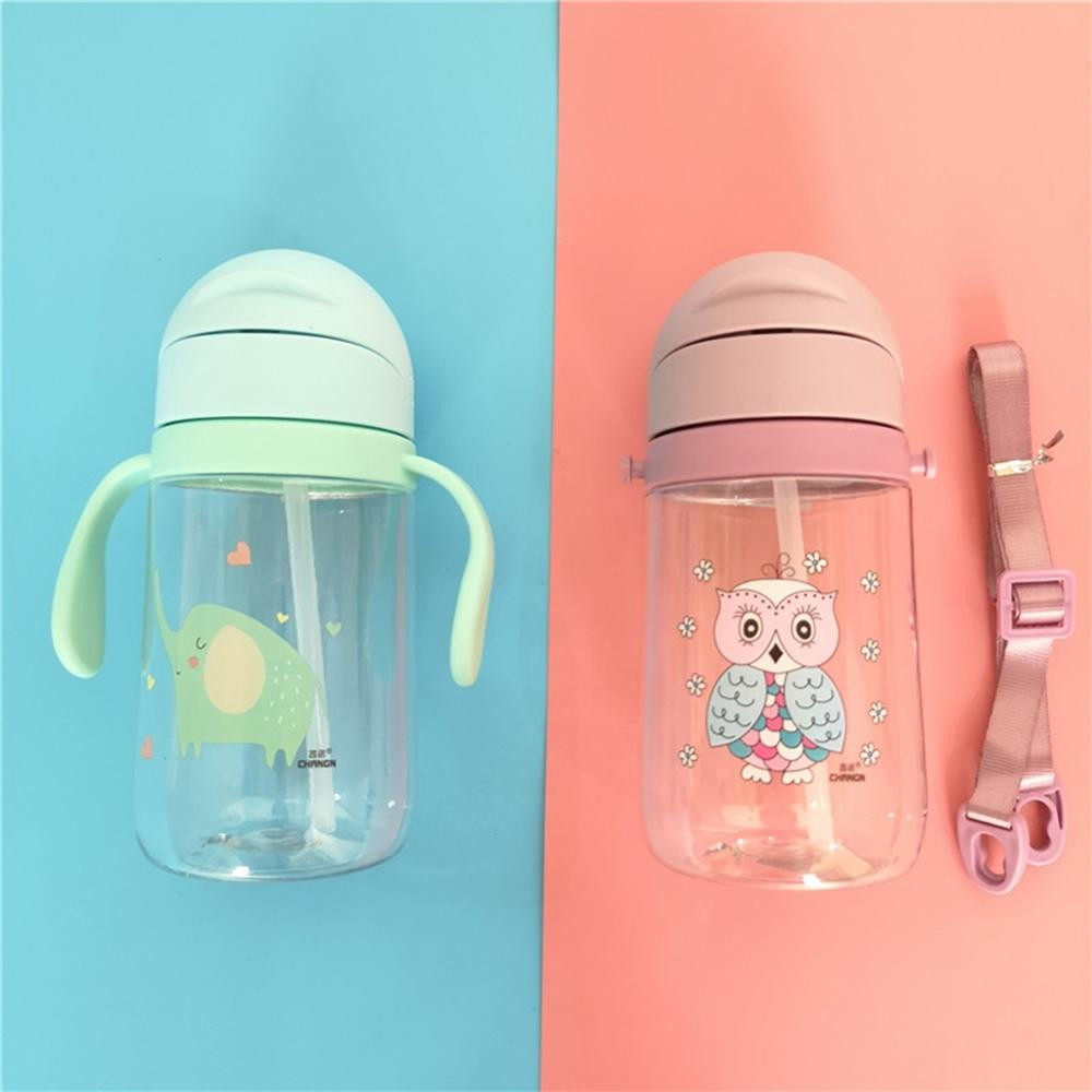 1Pc Baby Boy Girl 420ml Multi-Color Cartoon Pattern Baby Drinking Water Bottles Sippy Cups With Handles And Strap Cute Cup