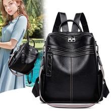 Fashion women leather backpack women backpack for teenage girls Genuine leather school bag female shoulder bag bagpack стоимость