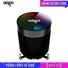 Aigo CPU soğutucu aura sync 5 saf bakır ısı boruları donma kulesi soğutma sistemi CPU soğutma 4pin pwm led rgb Fan radyatör AMD AM4