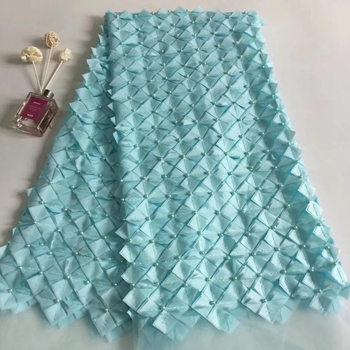 2019 Latest Nigerian Laces Fabrics High Quality African Laces Fabric For Wedding Dress French Tulle Lace With Beads T31131