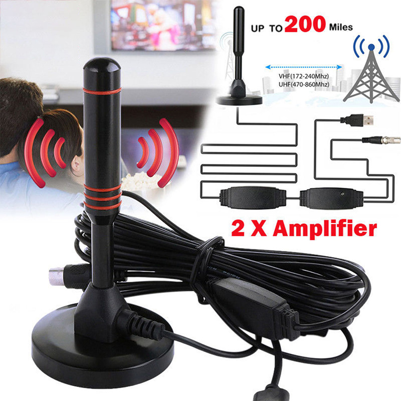 Indoor Digital HDTV TV Antenna 25DB Aerial Amplified 200 Miles Range VHF UHF HDTV Antenna TV Signal Receiver HD Signal Amplifier