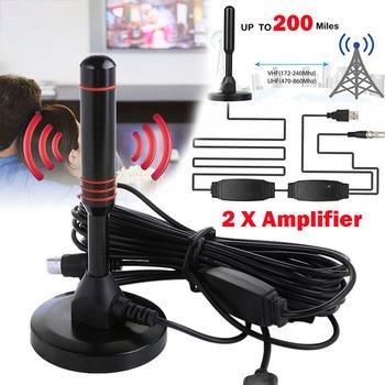 Wewnętrzna cyfrowa antena telewizyjna HDTV 25DB antena wzmocniona 200 mil zasięg VHF UHF antena HDTV odbiornik sygnału TV HD wzmacniacz sygnału tanie i dobre opinie BEESCLOVER Indoor VHF(172-240Mhz) UHF HDTV TV Antenna