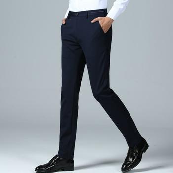 Garnitur spodnie marki odzież spodnie biznesowe męskie dorywczo szczupła dopasowana sukienka spodnie klasyczne proste modne spodnie biurowe męskie spodnie tanie i dobre opinie Mieszkanie FAVOCENT CN (pochodzenie) 0417SF Spodnie garniturowe POLIESTER Elegancko na luzie na zamek błyskawiczny