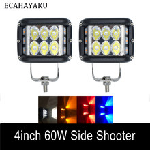 "2PCS ECAHAYAKU for Jeep Car LED Bar 4 "" 60W IP68 Spot 6000K Led Pods Driving Fog Off-road LED Work Light Styling Side Shooter(China)"