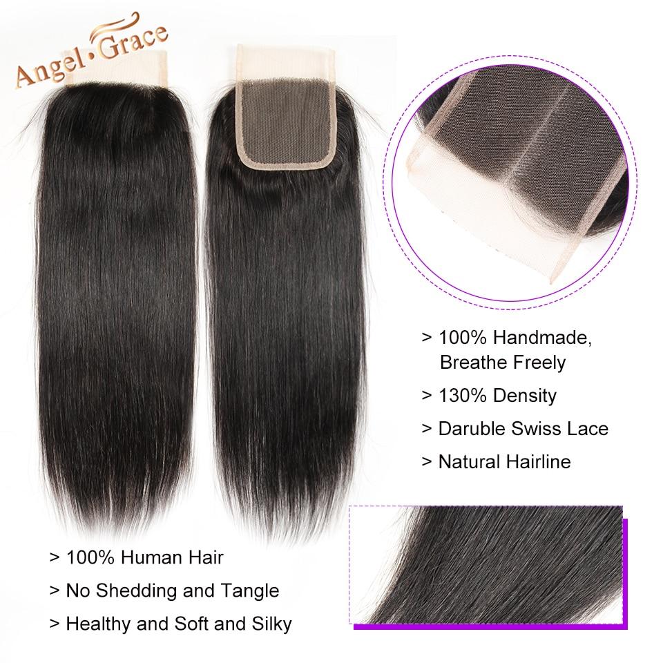 H5871c04b93174b038236bf674b780693C Angel Grace Hair Brazilian Straight Hair Bundles With Transparent/HD Lace Closure Remy Human Hair Weave 3 Bundles With Closure