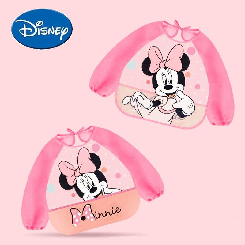 Disney Baby Bibs Long Sleeve Feeding Bibs Waterproof Cartoon Cotton Minnie Bib Burp Clothes Baberos Baby Stuff Disney Accessory