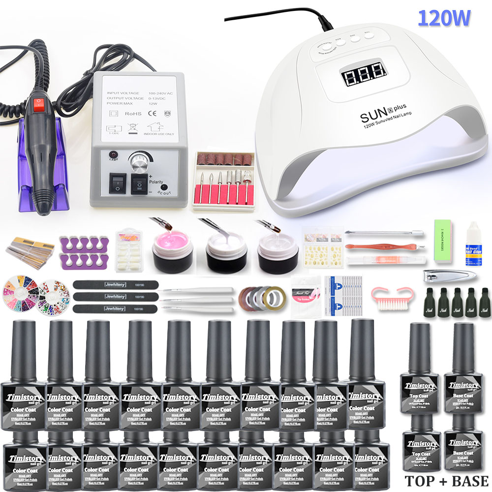 20pcs Nail Set Gel Nail Polish Kit With 120W UV LED Nail Lamp Dryer 20000RPM Electric Nail Drill Machine Manicure Set For Tools