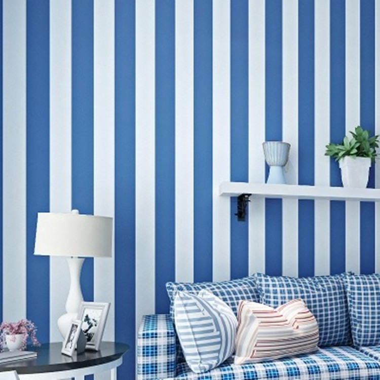 Mediterranean Sky Blue Wide Stripe Environmentally Friendly Pure Paper Wallpaper Modern Minimalist Living Room Bedroom CHILDREN'