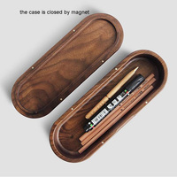 1pcs Ceative Black Walnut Wooden Pencil Case Oval Shape Multi-function Desk Stationery Organizer Storage Box Home Art