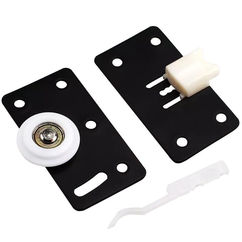 1 Set Black Wardrobe Sliding Steel Door Wheel Sliding Door Mute Pulley Nylon Convex Wheel Door Roller