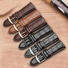 PEIYI 24 26 28 30mm bracelet en cuir véritable bracelet noir marron avec boucle ardillon adapté aux accessoires de montre pour hommes