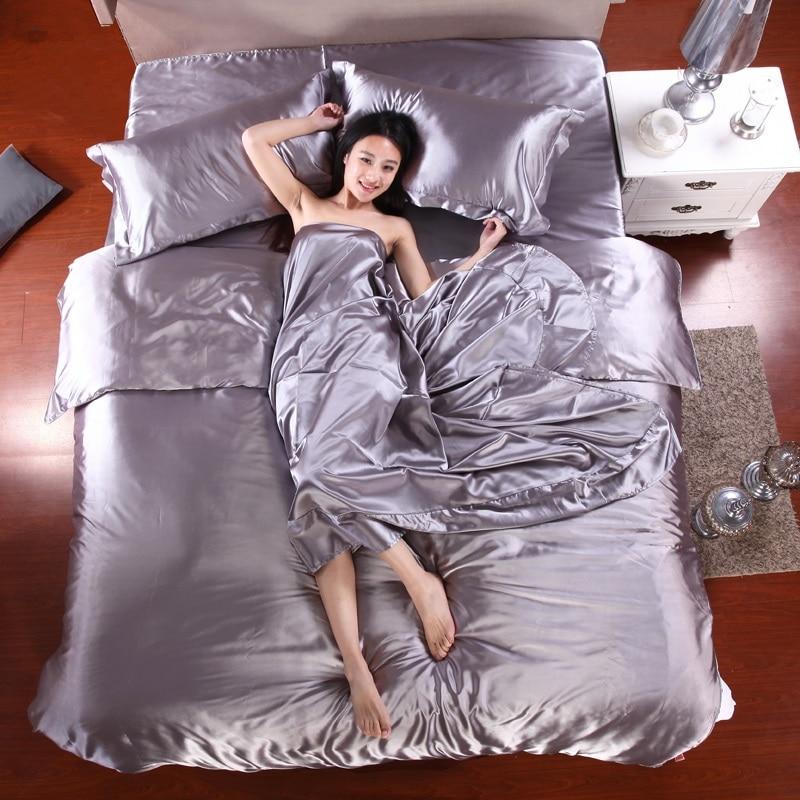 41HOT! 100% Pure Satin Silk Bedding Set,Home Textile King Size Bed Set,bedclothes,duvet Cover Flat Sheet Pillowcases Wholesale
