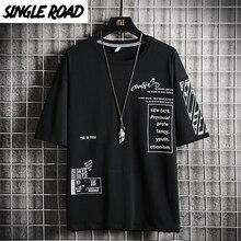 SingleRoad Man's Black T-shirt Men 2020 Print Oversized Punk