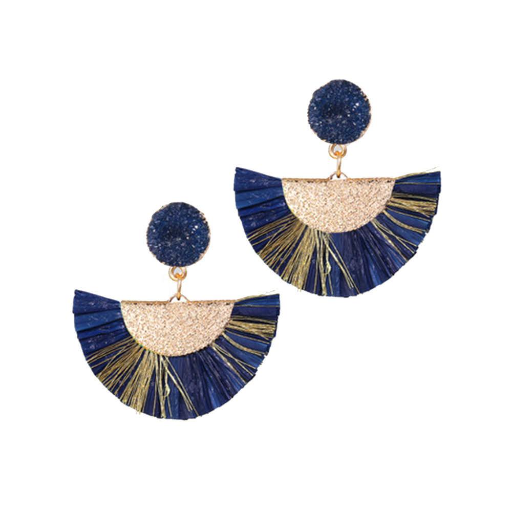 Böhmen Stroh Quaste Ohrringe Für Frauen Fan Rattan Wicker Tropfen Ohrring Lange Bast Ohrringe Handmade DIY Schmuck