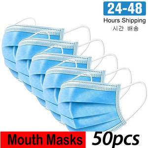 Image 1 - 24 Hours Fast Shipping 3 Ply Disposable Dustproof Face Mouth Masks Anti PM2.5Nonwoven Elastic Mouth Soft Breathable Face Mask
