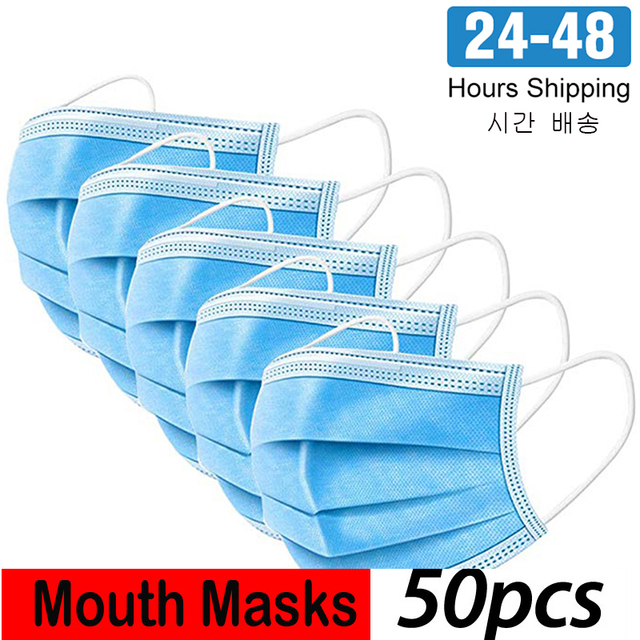 24 Hours Fast Shipping 3 Ply Disposable Dustproof Face Mouth Masks Anti PM2.5Nonwoven Elastic Mouth Soft Breathable Face Mask