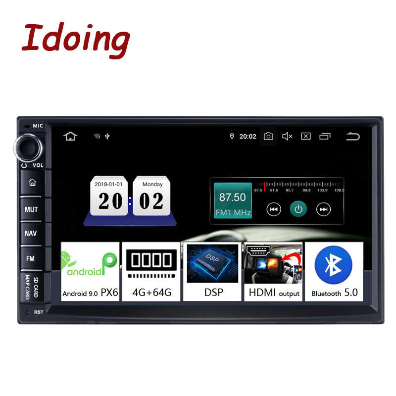 "Idoing 7 ""PX6 Universele 2 Din Auto Android Dsp Radio Multimedia Video Player Bluetooth 5.0 Hdmi Out Gps Navigatie 4G + 64G Geen Dvd"