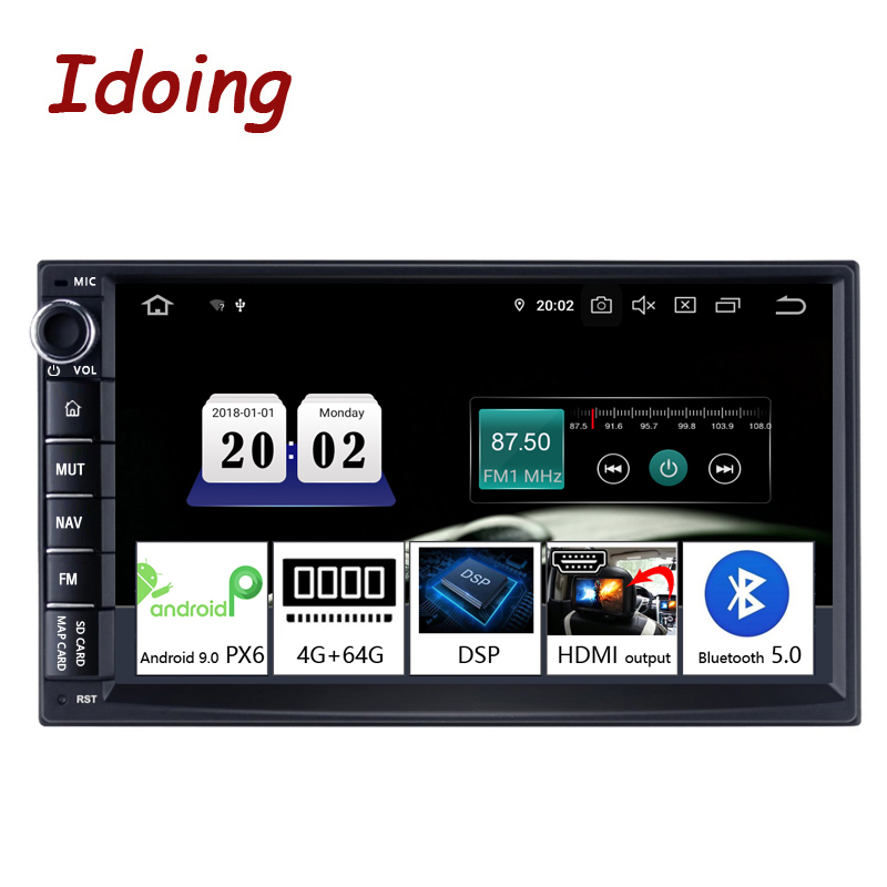 Idoing 7inch PX6 Universal 2 din Car Android DSP Radio Multimedia Video Player Bluetooth 5 0 HDMI OUT GPS Navigation 4G 64G NO DVD