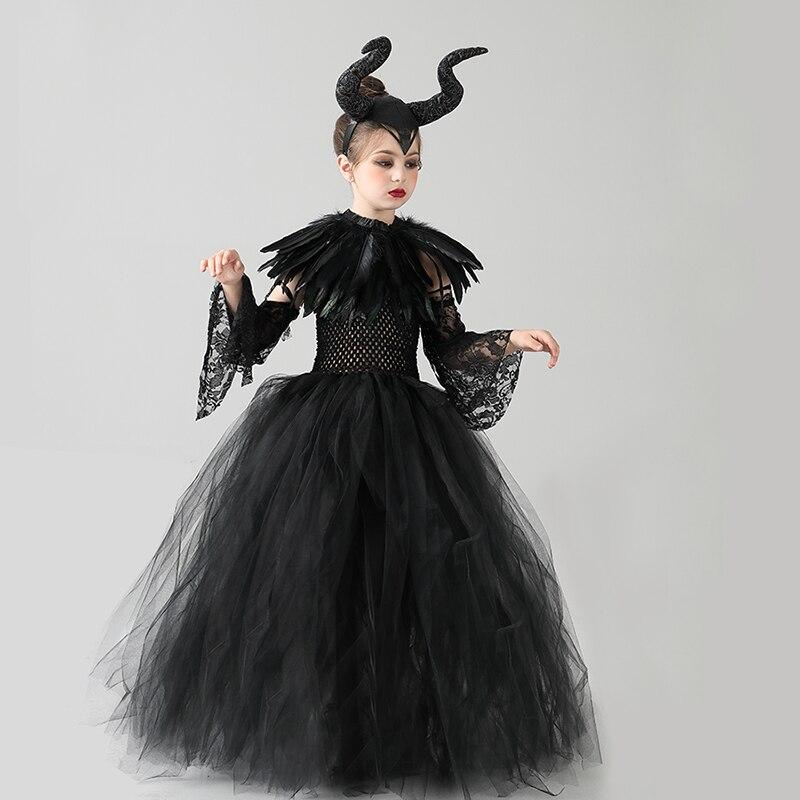 Kids Black Devil Tutu Costume Gothic Halloween Girls Fancy Tutu Dress with Feather Shawl Royal Dark Queen Maleficent Gown Dress (5)