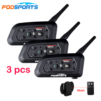 3 uds. De Intercomunicador para motocicleta V6 Pro, 6 Intercomunicador para Moto con multifunción BT 1200M, con Bluetooth, auriculares IPX5 MP3 y GPS