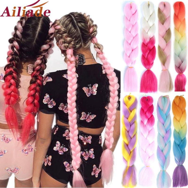 AILIADE 100 г/шт. 24 дюйма чистый цвет Омбре синтетические термостойкие волосы для наращивания твист Джамбо плетение Kanekalon волосы для женщин