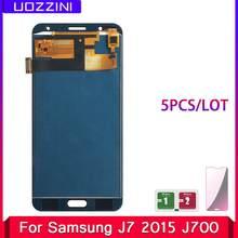 Pantalla táctil LCD para Samsung Galaxy J7 100% J700 J700F J700M J700H, lote de 5 unidades, AAA + 2015, probado