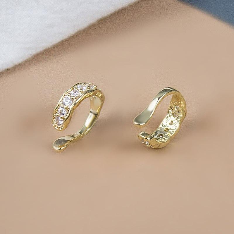 Fashion Cubic Rhinestone Zirconia Clip Earrings For Women Korean Trend Metal Gold Girl Jewelry Earring Wedding Party Gift
