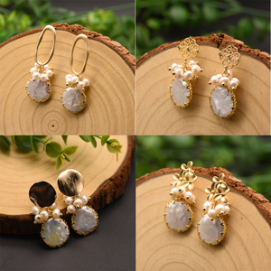 Image 5 - GLSEEVO Natural Fresh Water Baroque Pearl Earrings For Women Plant Leaves Dangle Earrings Luxury Handmade Fine Jewelry GE0308