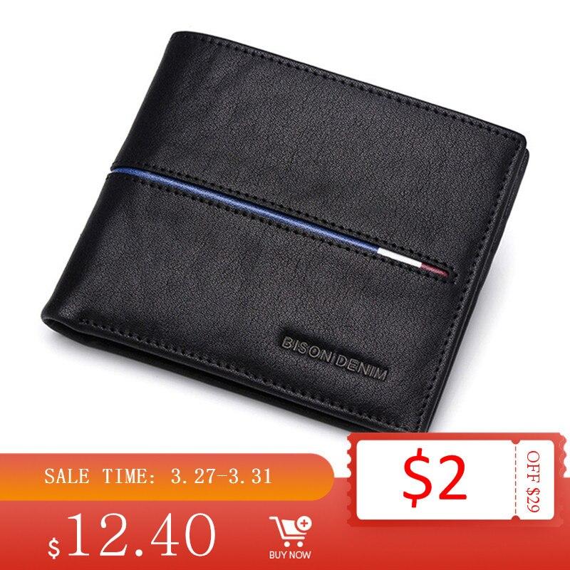 BISON DENIM Genuine Leather Wallet Men Brand Fashion Short Purses Coin Purse ID Credit Card Holder Slim Bifold Wallet Men N4437