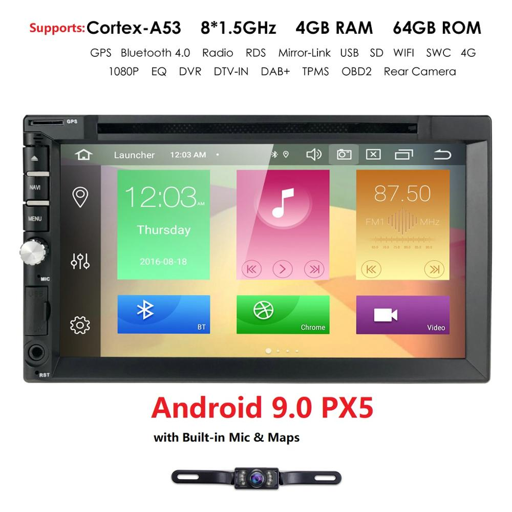 Octa Core Double 2 Din Android 9 4G RAM 64G ROM Universal Car DVD Player Multimedia Player For Nissan TOYOTA with DAB+ OBD image