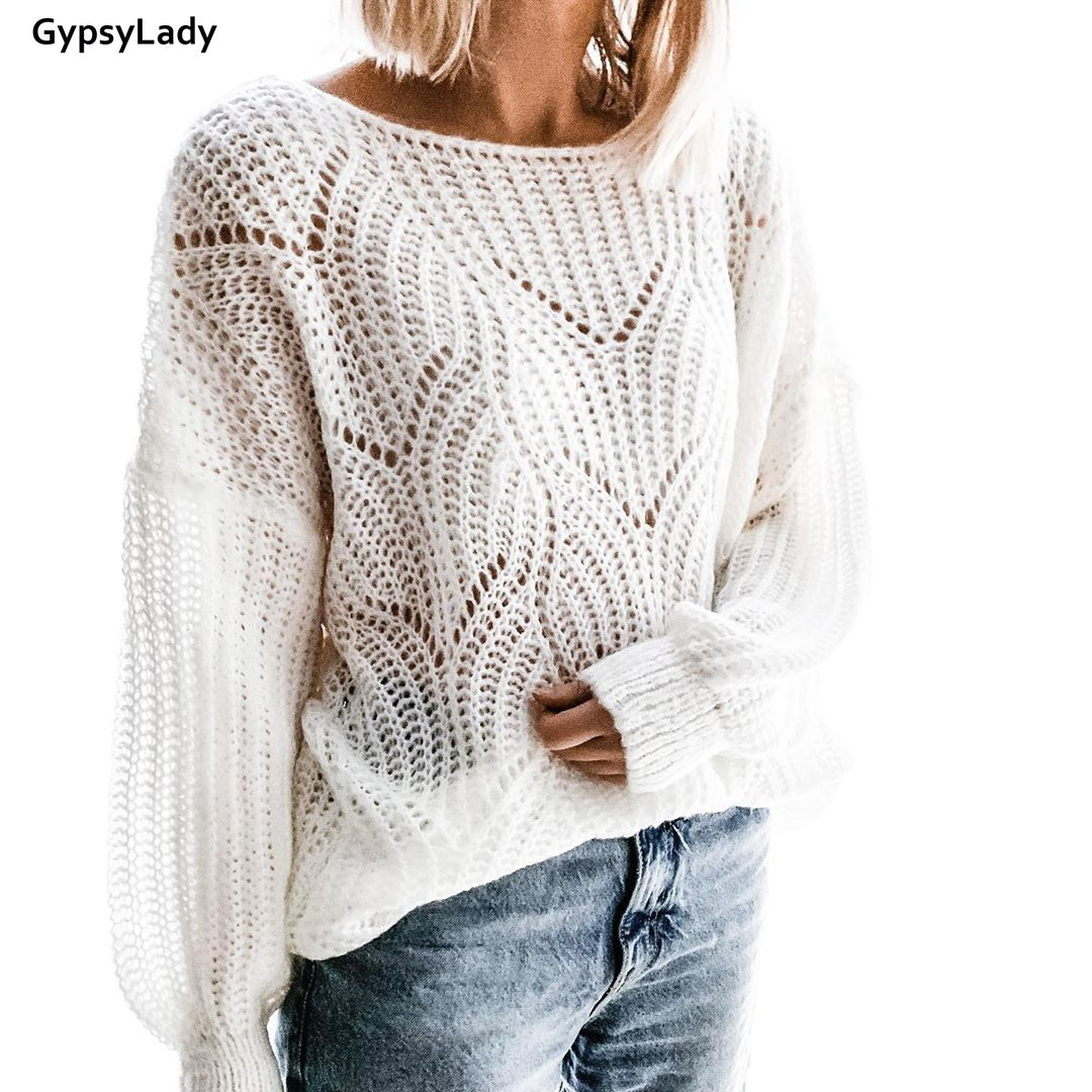 GypsyLady Red Pullover Sweater Mohair Casual Chic Autumn Sweaters Long Sleeve Hollow Out Jumper O-neck Pullover Women Top 2019