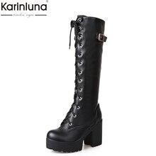KarinLuna/большой размер 43, крутые уличные сапоги до колена на высоком каблуке г. Женская зимняя обувь на платформе зимние сапоги женские сапоги для верховой езды