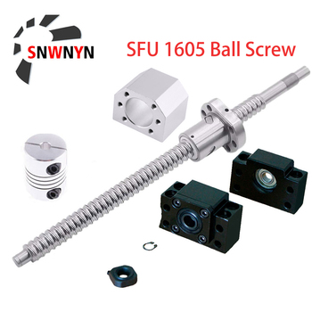 RM1605 Set SFU1605 Rolled Ball Screw C7 With End Machined+1605 Ball Nut + Nut Housing+BK/BF12 End Support +Coupler For CNC Parts sfu1605 ballscrew set sfu1605 550mm ballscrew 1605 ball nut bk12 bf12 6 35 10 coupler cnc parts rm1605