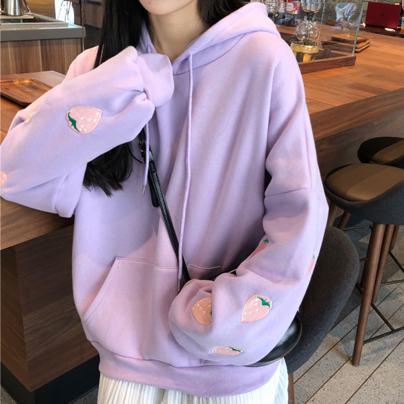 Strawberry Embroidery Lavender White Sweatshirt Spring Autumn Women Loose Long Sleeves Tops Oversized Hoodie