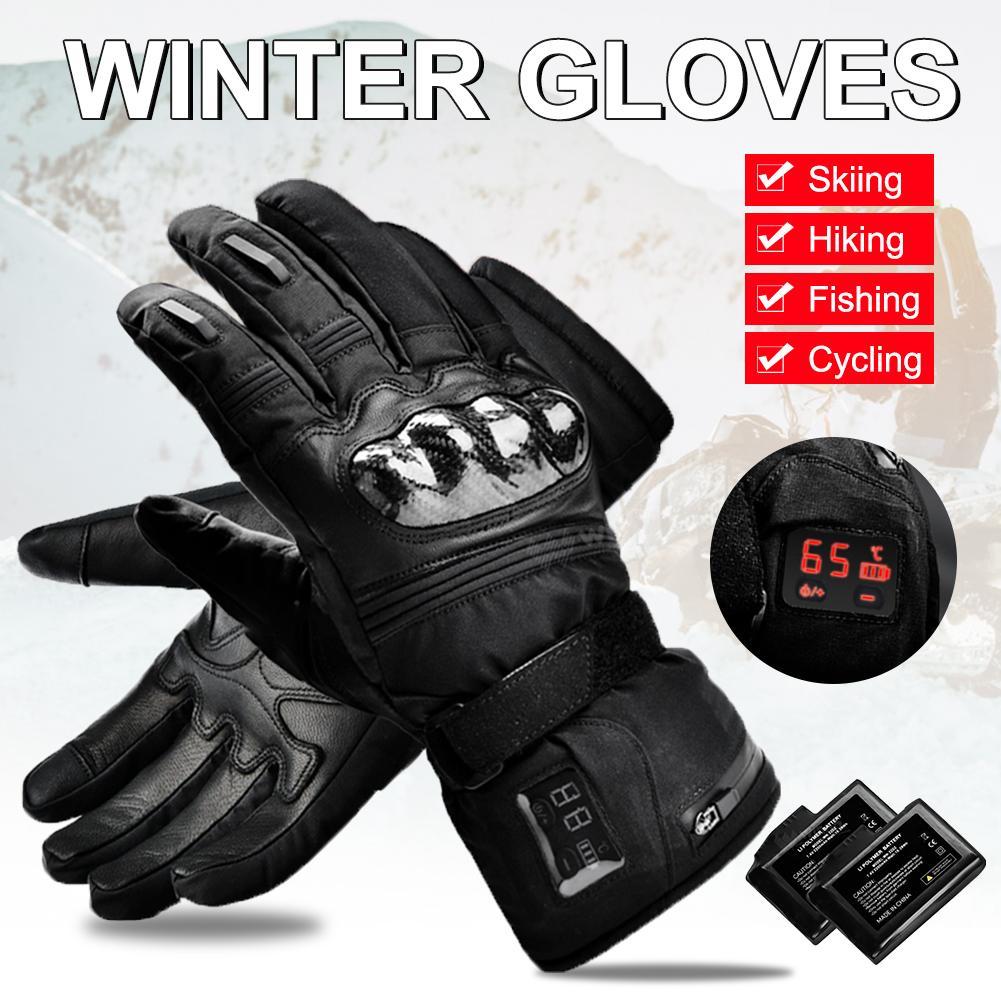 Перчатки с цифровым дисплеем с электрическим подогревом, кожаные водонепроницаемые теплые электрические перчатки, зимние уличные мужские и женские перчатки для катания на лыжах