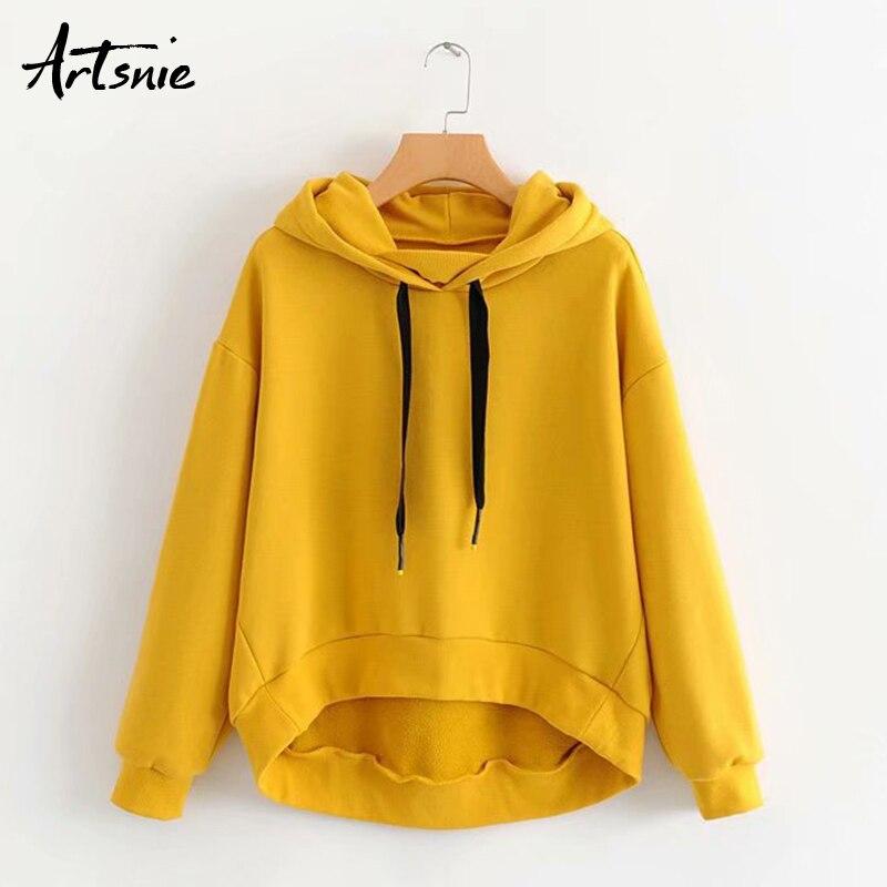 Artsnie Autumn 2019 Yellow Sweatshirt Women Drop Shoulder Long Sleeve Knitted Hoodies Pullover Pocket Knitted Casual Sweatshirts