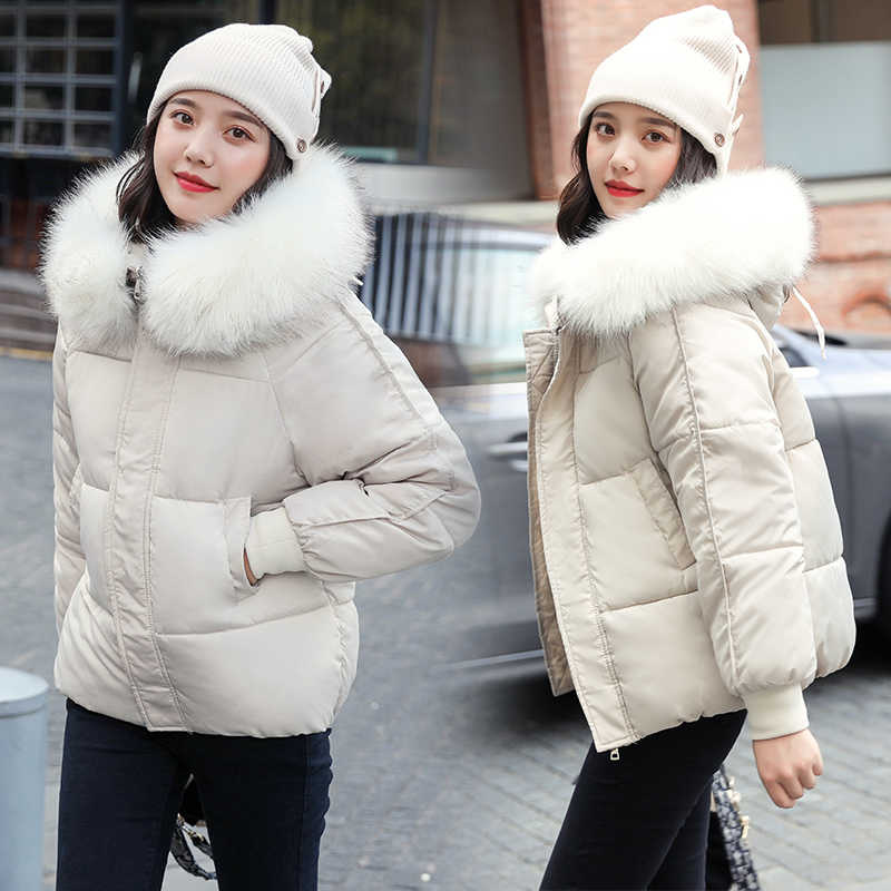 Plus size Women Parka Hooded Winter Jacket Short Cotton Padded Female Loose Fur collar Coat Thicken Warm Outerwear Casual Tops